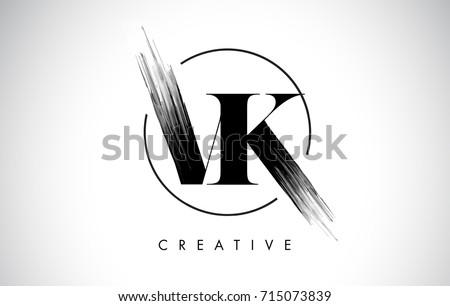 VK Brush Stroke Letter Logo Design. Black Paint Logo Leters Icon with Elegant Circle Vector Design.