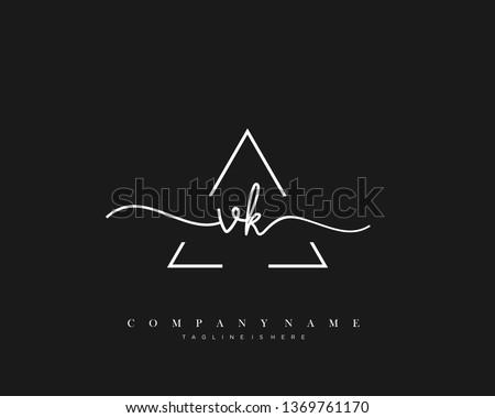 VK initial handwriting logo template vector