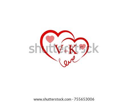 VK Initial Wedding Invitation Love Logo Template Vector