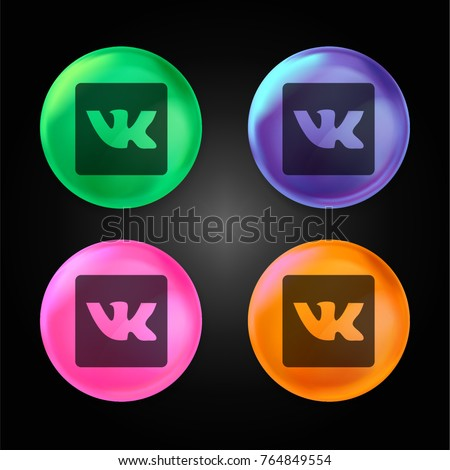 VK Reproductor crystal ball design icon in green - blue - pink and orange.
