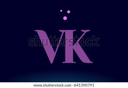VK Logo Vk V K Alphabet Letter Pink Line Stripes Magenta Purple Blue Font Creative Text Dots Company