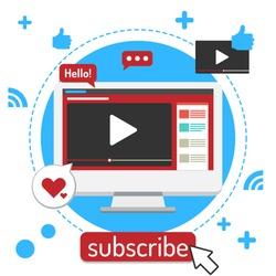 vlog creator content Video Blogger illustrator on white background