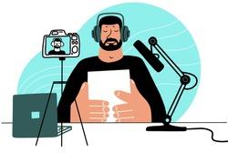 Vlogger streaming online. Man recording video to blog flat style Vector cartoon illustration