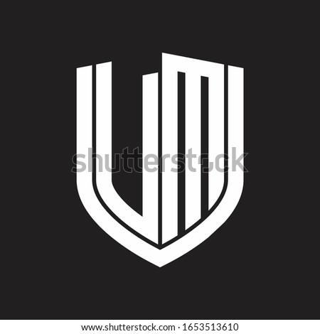 VM Logo monogram with emblem shield design isolated on black background Stock fotó ©