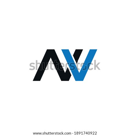 VN or NV abstract outstanding professional business awesome artistic branding company different colors illustration logo Imagine de stoc ©