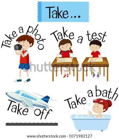 Vocabulary Card with word Take illustration