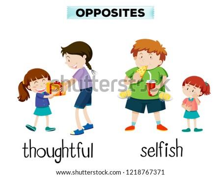 Vocabulary English opposite word illustration