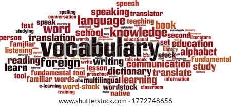 Vocabulary word cloud concept. Collage made of words about vocabulary. Vector illustration  ストックフォト ©