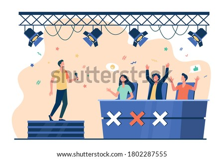 Vocal competition event. Performer singing on stage before jury celebrities. Vector illustration for TV talent show, television, contest concepts