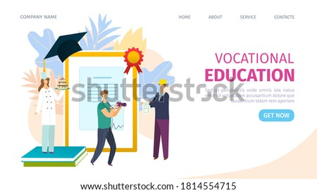 Vocational education training concept of learning, landing page, vector illustration. Business training and advanced training. Vocational school or trade school web site. Vocation college proffesion. Stock photo ©