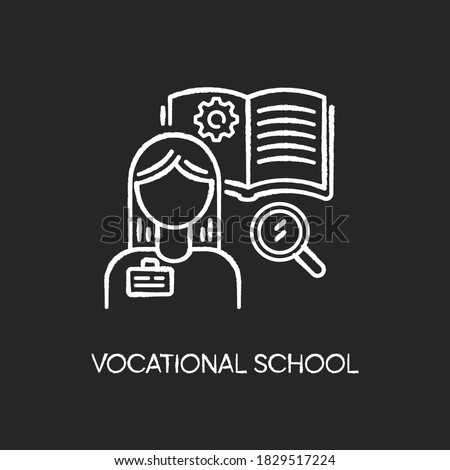 Vocational school chalk white icon on black background. Professional skills development, specialty education. Potential workers training courses. Student Isolated vector chalkboard illustration Stock photo ©