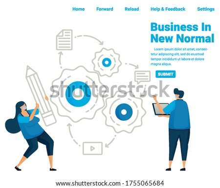 Vocational school opportunities to get a job during the covid-19 pandemic. New normal learning for vocational students. Illustration design of landing page, website, mobile apps, poster, flyer, banner Stock photo ©