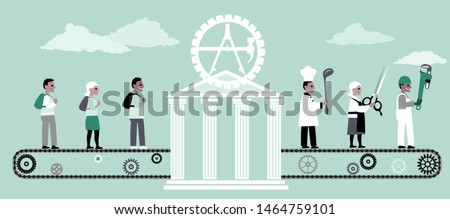 Vocational school turning young adults into trade professionals, EPS 8 vector illustration Stock photo ©