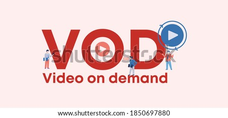 VOD video on demand. Applications certificate of site and web management security digital privacy marketing form of encryption convenient transaction certificate with vector quality guarantee. Stock photo ©