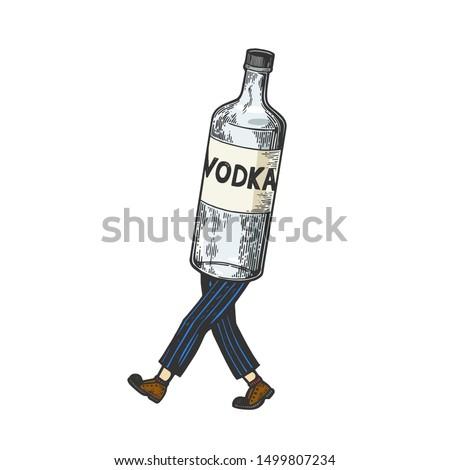 vodka alcohol bottle walks on