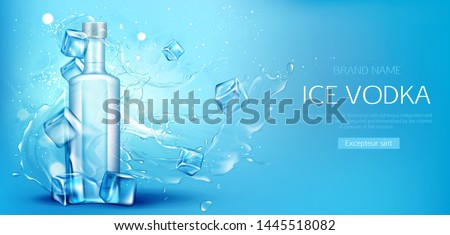 Vodka bottle with ice cubes mockup. Closed glass blank flask with strong alcohol drink mock up on blue water splash and drops background, advertising promo ad banner, Realistic 3d vector illustration