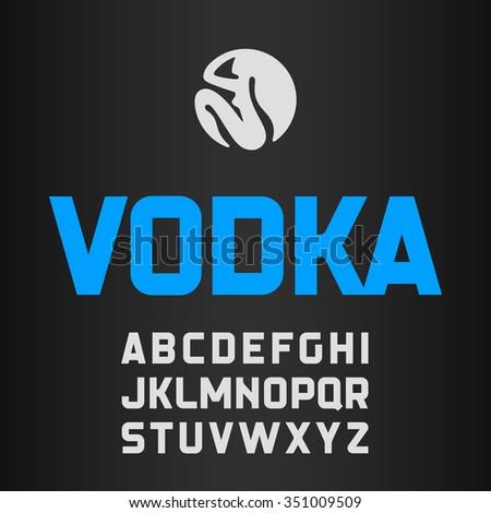 vodka label  modern style font