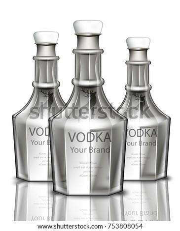 vodka realistic bottle vector