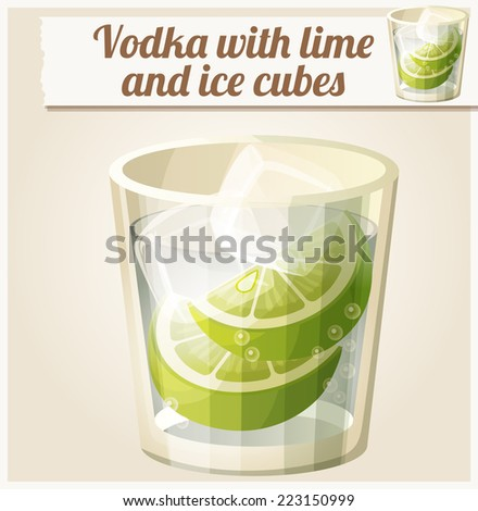 vodka with lime and ice cubes
