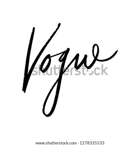 Vogue lettering text. Fashion postcard or banner. Vector and jpg image, clipart.