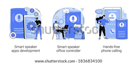 Voice assistant abstract concept vector illustration set. Smart speaker apps development, office controller, hands-free phone calling, internet of things, voice command software abstract metaphor.