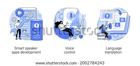Voice assistant abstract concept vector illustration set. Smart speaker apps development, voice control, language translation, speech recognition software technology, hands-free abstract metaphor.