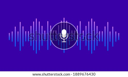 Voice assistant and voice recognition. Personal assistant. Sound wave and microphone. Equalizer. Vector illustration.