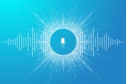 Voice assistant concept. Vector sound wave. Voice and sound recognition equalizer wave flow background. Personal assistant and voice recognition concept gradient vector illustration