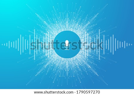 Voice assistant concept. Vector sound wave. Voice and sound recognition equalizer wave flow background. Personal assistant and voice recognition concept gradient vector illustration