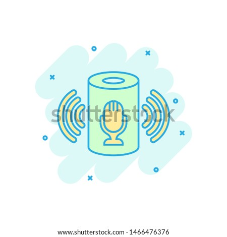Voice assistant icon in comic style. Smart home assist vector cartoon illustration on white isolated background. Command center business concept splash effect.