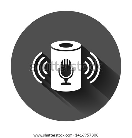 Voice assistant icon in flat style. Smart home assist vector illustration on black round background with long shadow. Command center business concept.