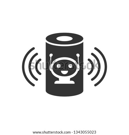 Voice assistant icon in flat style. Smart home assist vector illustration on white isolated background. Command center business concept.