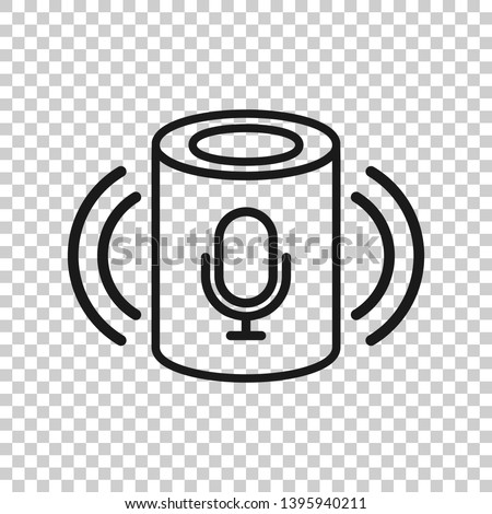 Voice assistant icon in transparent style. Smart home assist vector illustration on isolated background. Command center business concept.