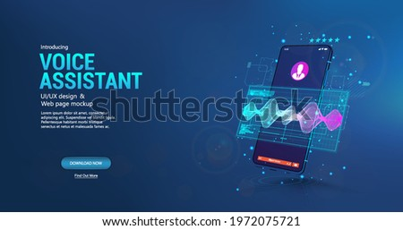 Voice assistant in smartphone application. 3D mockup smartphone with sound wave and UI. Microphone voice control technology, voice and sound recognition. Equalizer, wave flow, Ai assistant. Vector