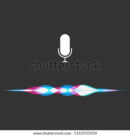 Voice assistant. Interface of a personal assistant Siri. Microphone icon and sound waves. Vector Illustration.