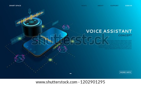 Voice assistant modern concept. Equalizer sound waves on the smart phone and on the smart speaker. Landing page with Personal assistant concept. Vector illustration.