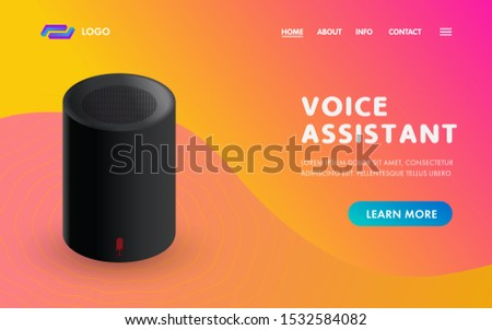 Voice Assistant Smart Home sound recognition system. IOT device web template vector concept for Landing page ui, ux design with sound speaker. Personal online assistant.