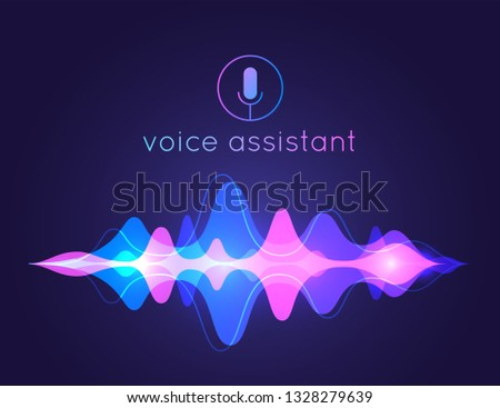 Voice assistant sound wave. Microphone voice control technology, voice and sound recognition. Vector AI assistant voice background