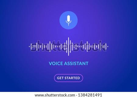 Voice assistant soundwave illustration. AI assistant conversation sound tech, smart recognition.