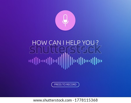 Voice assistant vector window template. Voice recognition soundwave illustration and button of recording voice. Microphone button with bright voice and sound imitation lines
