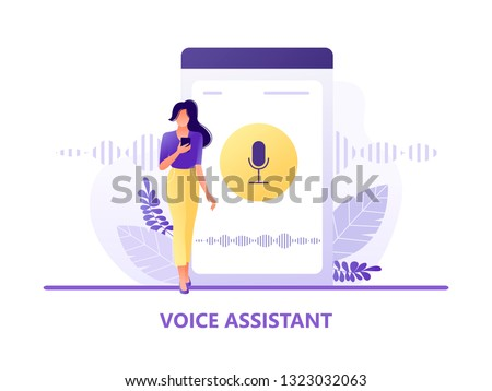 Voice assistant. Young woman with mobile near smartphone. Speaker recognition, voice controlled smart speaker. Voice activated digital assistants, identification. Flat concept vector illustration