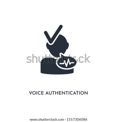 voice authentication icon. simple element illustration. isolated trendy filled voice authentication icon on white background. can be used for web, mobile, ui.