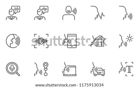 Voice Command Control, Voice Recognition Vector Line Icons Set. Text Input, Voice Search, Control Of Smart Home. Editable Stroke. 48x48 Pixel Perfect.