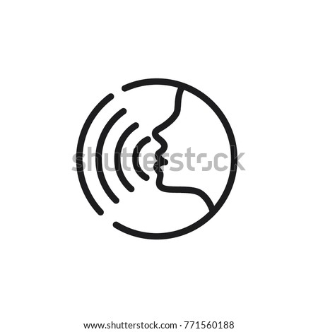 Voice command with sound waves icon vector