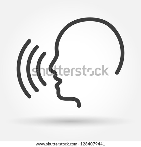 Voice control icon. Speak or talk recognition linear icon, speaking and talking command, sound commander or speech dictator head, vector illustration Stock photo ©