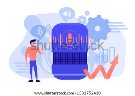 Voice controlled smart speaker and user talking. Smart home office main controlling hub, IoT technology and voice controlled digital devices concept. Vector isolated illustration.