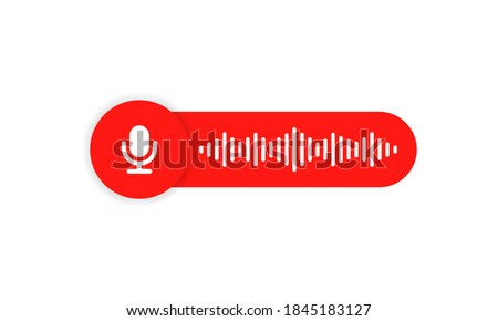 Voice message icon for your chat design. Voice messaging correspondence. Voice messages bubble icon with sound wave and microphone. Vector flat cartoon illustration for web sites and banners design