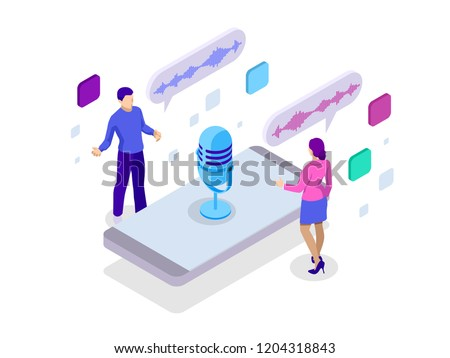 Voice message or recording voice. Isometric vector illustration