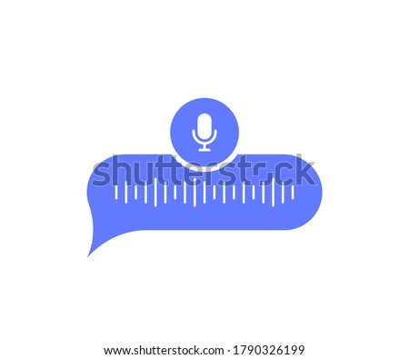 Voice messages bubble icon with sound wave and microphone. Voice messaging correspondence. Modern flat style vector illustration.