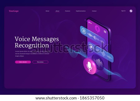 Voice messages recognition banner. Mobile application for recording sound, dictate messages and speech. Vector landing page with isometric illustration of smartphone with voice chat and microphone